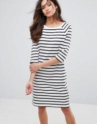 Selected Natali 3/4 Sleeve Striped Jersey Shift Dress - White