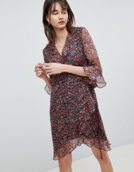 Selected Printed Wrap Dress With Ruffles - Multi