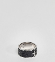 Seven London Black Band Ring In Sterling Silver - Silver