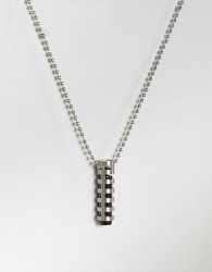 Seven London Necklace In Silver With Tube Pendant - Silver