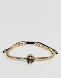 Seven London Skinny Beaded Bracelet In Gold With Skull Charm - Gold
