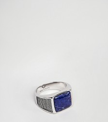 Seven London Sterling Silver Signet Ring With Blue Stone - Silver