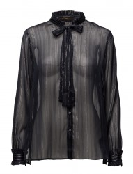 Sheer Lurex Ruffle Blouse With Neck Tie