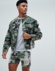 SikSilk Collarless Muscle Denim Jacket In Camo With Distressing - Green