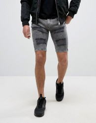 SikSilk Extreme Super Skinny Denim Shorts In Grey With Distressing - Grey