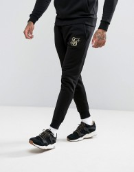 SikSilk Joggers In Black With Gold Logo - Black