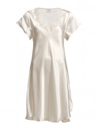 Silk Nightgown W.Lace, Short Sleeve