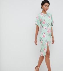 Silver Bloom kimono sleeve midi dress with open back in multi - Multi