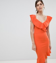 Silver Bloom Off Shoulder Midi Dress With Pephem - Orange