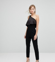Silver Bloom Satin Layered Fit Jumpsuit - Black