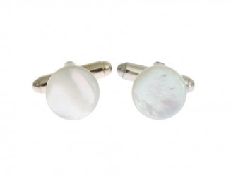 Silver Brass Round Cufflinks