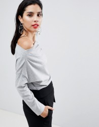 Sisley 3/4 Sleeve Knit Top - Grey