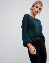 Sisley balloon sleeve fine knit jumper in dark green - Green