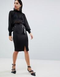 Sisley Belt Detail Pencil Skirt - Black