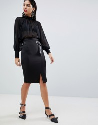 Sisley Belt Detail Pencil Skirt - Black