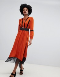 Sisley belted mesh hem midaxi dress - Orange