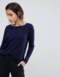 Sisley Boxy Knit Jumper With Cashmere Blend - Navy
