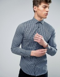 Sisley Checked Shirt In Slim Fit - Blue
