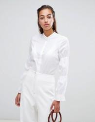 Sisley collarless elasticated sleeve detail shirt - White
