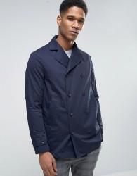 Sisley Double Breasted Pea Coat With Waxed Lining - Navy