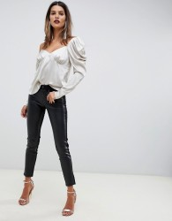 Sisley faux leather skinny trousers with denim panelling - Black