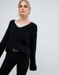 Sisley flared sleeve v neck knit jumper in black - Black