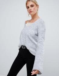 Sisley flared sleeve v neck knit jumper in grey - Grey