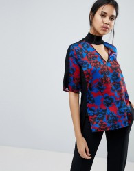 Sisley Floral Print Blouse With Eyelet Detail - Multi
