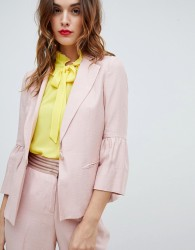 Sisley Fluted Sleeve Tailored Jacket - Pink