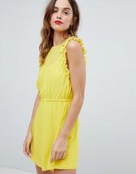 Sisley Frill Sleeve Mini Dress - Yellow