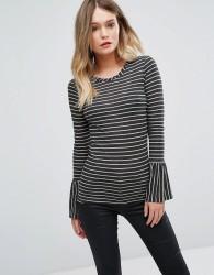 Sisley Glitter Stripe Bell Sleeve Top - Grey
