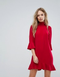 Sisley High Neck Dress With Frill Sleeves - Red