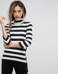 Sisley High Neck Stripe Ribbed Knit Top - Multi