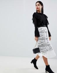 Sisley Lace Pleated Midi Skirt - Cream