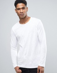 Sisley Long Sleeve T-Shirt In Slub - White