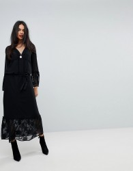 Sisley Maxi Dress With Bell Sleeves - Black