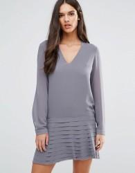 Sisley Mini Dress With Pleated Skirt - Grey