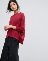 Sisley Oversized Fine Knit Jumper - Red