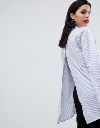 Sisley Oversized Open Back Stripe Shirt - Multi