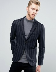 Sisley Patch Pocket Blazer In Slim Fit With Stripe - Navy