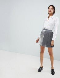 Sisley Pleat Mini Skirt With Metallic Detail - Grey