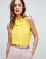 Sisley Ruffle Trim Tie Neck Top - Yellow
