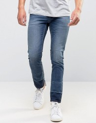 Sisley Skinny Jeans With Cut And Sew Ankle Detail and Cropped - Blue