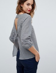 Sisley Tie Back Gingham Top - Black