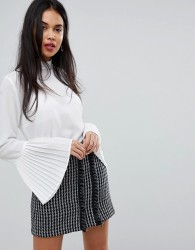 Sisley Tie Neck Sheer Blouse With Pleated Sleeves - White