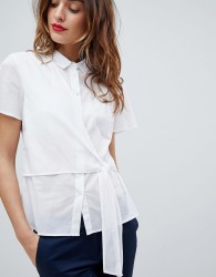 Sisley Tie Side Short Sleeve Shirt - White