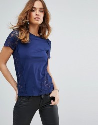 Sisley Top in Jersey and Lace - Navy