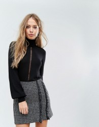 Sisley Turtle Neck With Distressed Detail Back - Black