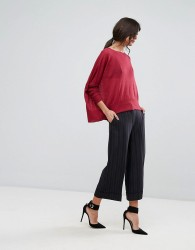 Sisley Wide Leg Cropped Stripe Trouser - Black