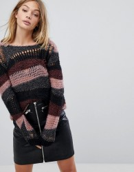 Sisley Wide Neck Distressed Jumper with Glitter Detail - Multi